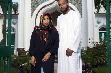 Junior and Sobiah standing outside the mosque