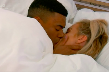 Screen Shot: Wes and Laura kiss - Love Island, episode four, ITV2
