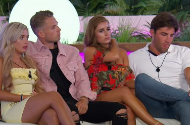 Ellie Brown, Charlie, Dani and Jack at the dumping. Love Island 2018, series 4