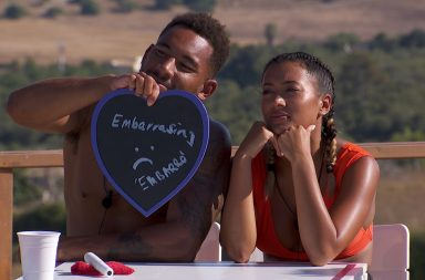 From ITV Studios Love Island: SR4: Ep40 on ITV2 Pictured: Josh and Kazimir Crossley during the Twitter challenge.