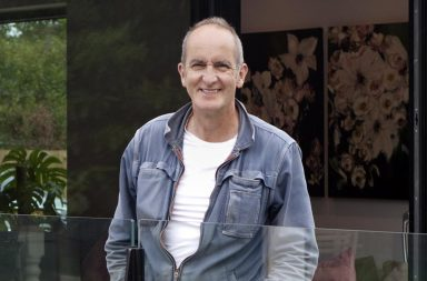 Presenter Kevin McCloud with owners Born and Elinor