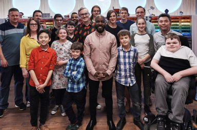 Lego Masters Series 2: - Presenter Melvin Odoom with Matthew Ashton and Fran Scott and all the contestants.