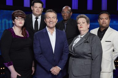 "From ITV Studios THE CHASE Weekdays on ITV Pictured: (l-r) Chasers Jenny 'The Vixen' Ryan, Mark 'The Beast' Labbett, Host Bradley Walsh, Shaun 'The Barrister' Wallace, Anne ""The Governess"" Hegerty, and Paul ''The Sinnerman'' Sinha"
