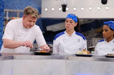 "HELLS KITCHEN: L-R: Host/chef Gordon Ramsay, veteran contestant Ariel Fox and rookie contestant Kanae Houston in the ""Last Chef Standing"" episode of HELLS KITCHEN airing Friday, Nov. 16 (9:00-10:00 PM ET/PT) on FOX. (Photo by FOX via Getty Images)"