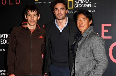 LONDON, ENGLAND - DECEMBER 11: (L-R) Alex Honnold, Thom Evans and co-director Jimmy Chin attend the National Geographic's gala screening of 'Free Solo' at BFI Southbank on December 11, 2018 in London, England. (Photo by Stuart C. Wilson/Getty Images)