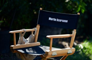"""NEW YORK, NY - SEPTEMBER 25: Martin Scorsese's director chair seen on location for """"The Irishman"""" on September 25, 2017 in Huntington Station, New York. (Photo by James Devaney/GC Images)"""