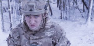 From Avanti Media THE PARAS : MEN OF WAR Thursday 10th January 2018 on ITV Pictured : Recruit York Avery struggles on exercises in extreme weather including heavy snow