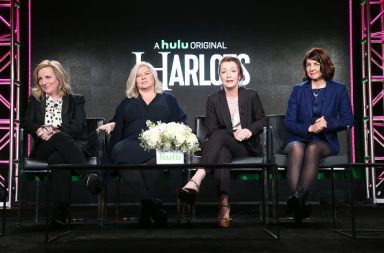 PASADENA, CA - JANUARY 07: (L-R) Executive producers Debra Hayward, Alison Owen, actress Lesley Manville, and executive producer Moira Buffini of Hulu's Original Series 'Harlots' speak onstage during Hulu's 2017 Winter TCA Tour at Langham Hotel on January 7, 2017 in Pasadena, California. (Photo by Frederick M. Brown/Getty Images)