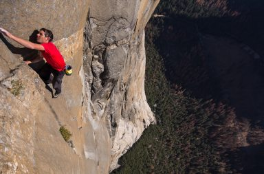 Alex Honnold free solo climbing on El Capitan's Freerider in Yosemite National Park.