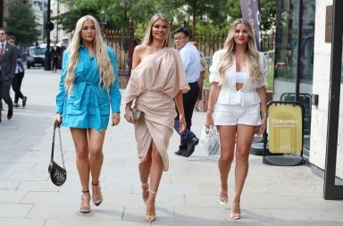 LONDON, ENGLAND - AUGUST 30: Frankie Sims, Chloe Sims and Georgia Kousoulou seen arriving for The Only Way Is Essex - Series 25 summer party at Jin Bo Law on August 30, 2019 in London, England. (Photo by Neil Mockford/GC Images)