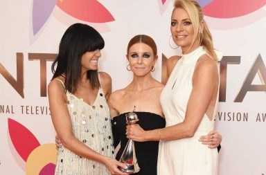 """LONDON, ENGLAND - JANUARY 22: (L to R) Claudia Winkleman, Stacey Dooley and Tess Daly, accepting the Best Talent Show award for """"Strictly Come Dancing"""", pose in the Winners Room during the National Television Awards held at The O2 Arena on January 22, 2019 in London, England. (Photo by David M. Benett/Dave Benett/Getty Images)"""