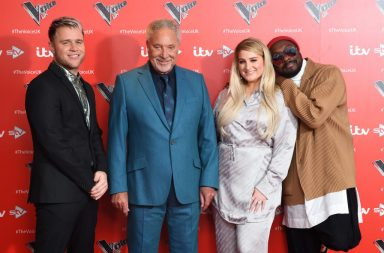 "LONDON, ENGLAND - DECEMBER 16: (L-R) Olly Murs, Tom Jones, Meghan Trainor and will.i.am attend the new series launch of ""The Voice UK 2019"" at The Soho Hotel on December 16, 2019 in London, England. (Photo by Karwai Tang/WireImage)"
